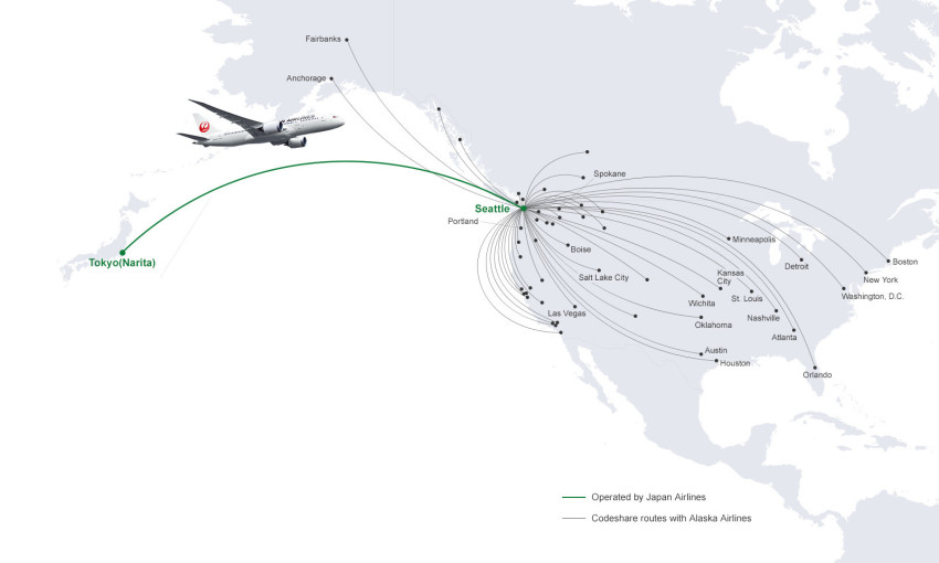 JAL begins sales of new codeshare routes with Alaska Airlines on coloring map of japan, climate zone map of japan, natural gas map of japan,